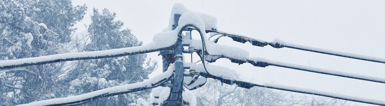 Paksun lumikerroksen peittämiä sähköverkon ilmajohtoja.