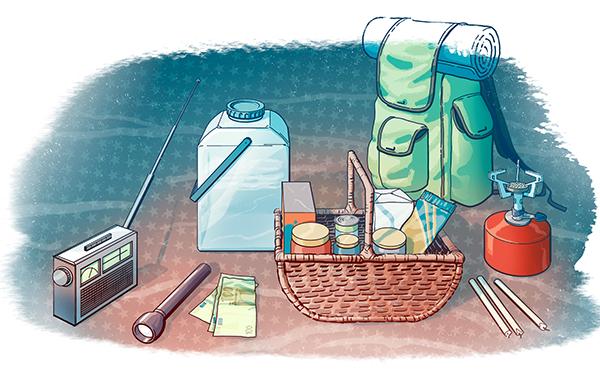 Piirroskuva kotivarasta: paristoradio, taskulamppu, vettä, retkikeitin, ruokaa.