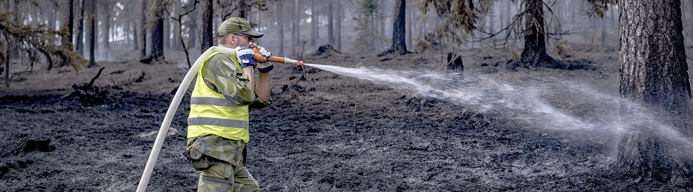 Palomies sammuttamassa maastopaloa.