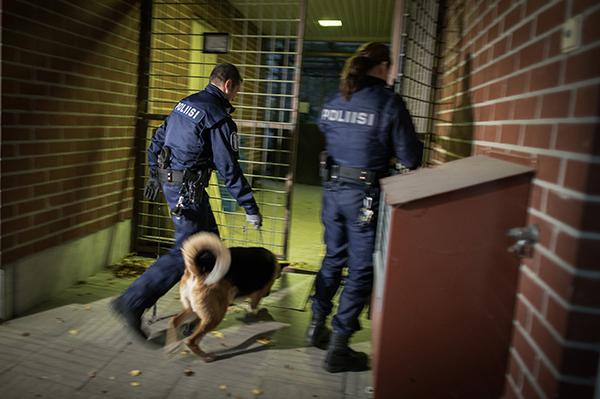 Kaksi poliisia ja poliisikoira menossa portista sisään rakennukseen.