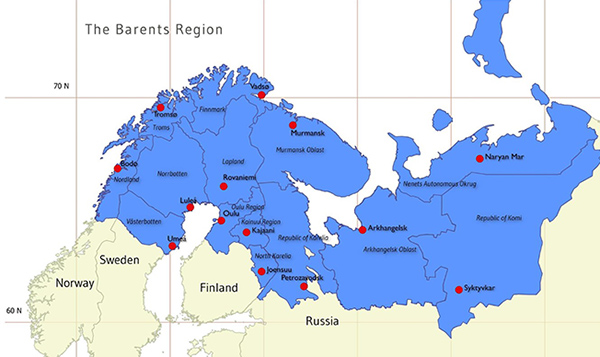 Barentsin euroarktisen alueen kartta. Alueeseen kuuluvat Norjasta, ruotsista ja Suomesta noin pohjoinen puolikas sekä Venäjän puolelta Kuolan niemimaa, itäinen Karjala ja Venäjän pohjoisia alueita aina Nonaja Zemljalle saakka.