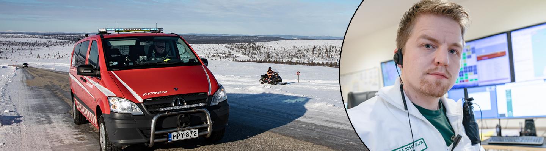Johtoyksikön auto talvisella tiellä Lapissa sekä Matias Wesin.