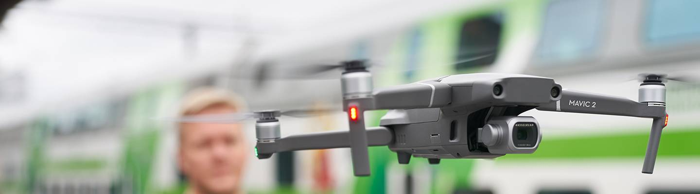 Dronen lennätystä Tampereella 2019.