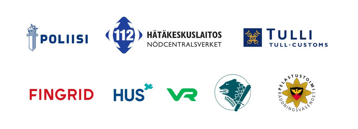 Erillisverkkojen kumppanien logoja: Poliisi, Hätäkeskuslaitos, Tulli, Fingrid, HUS, VR,, Peöastustoimi