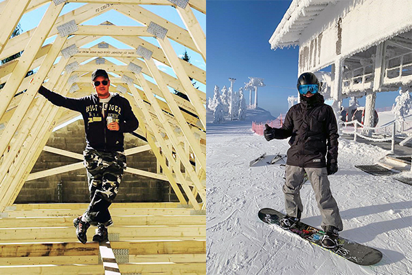 Antti Kauppinen vapaa-ajallaan rakentamassa taloa ja lumilautailemassa.