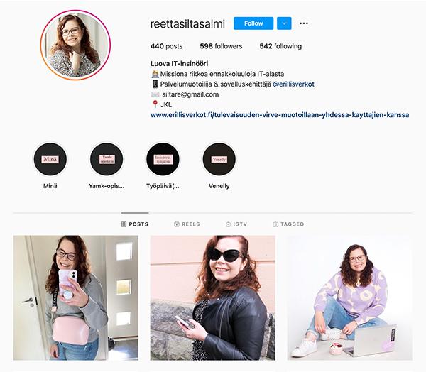 Kuvakaappaus Reetta Siltasalmi-Kauton Instagram-tililtä.